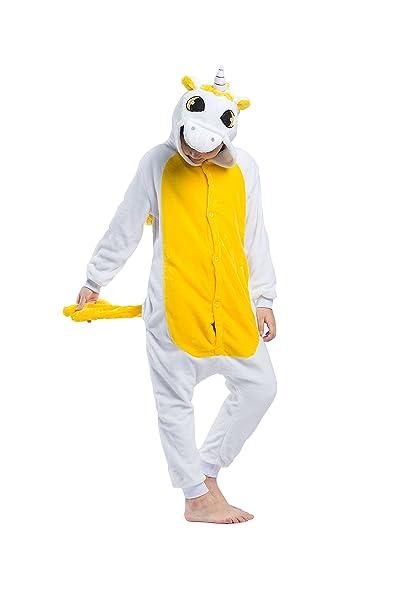 Hstyle Atuendo De Los Niños Unicornio Kigurumi Pijamas De Los Niños Traje De Cosplay Mamelucos Amarillo