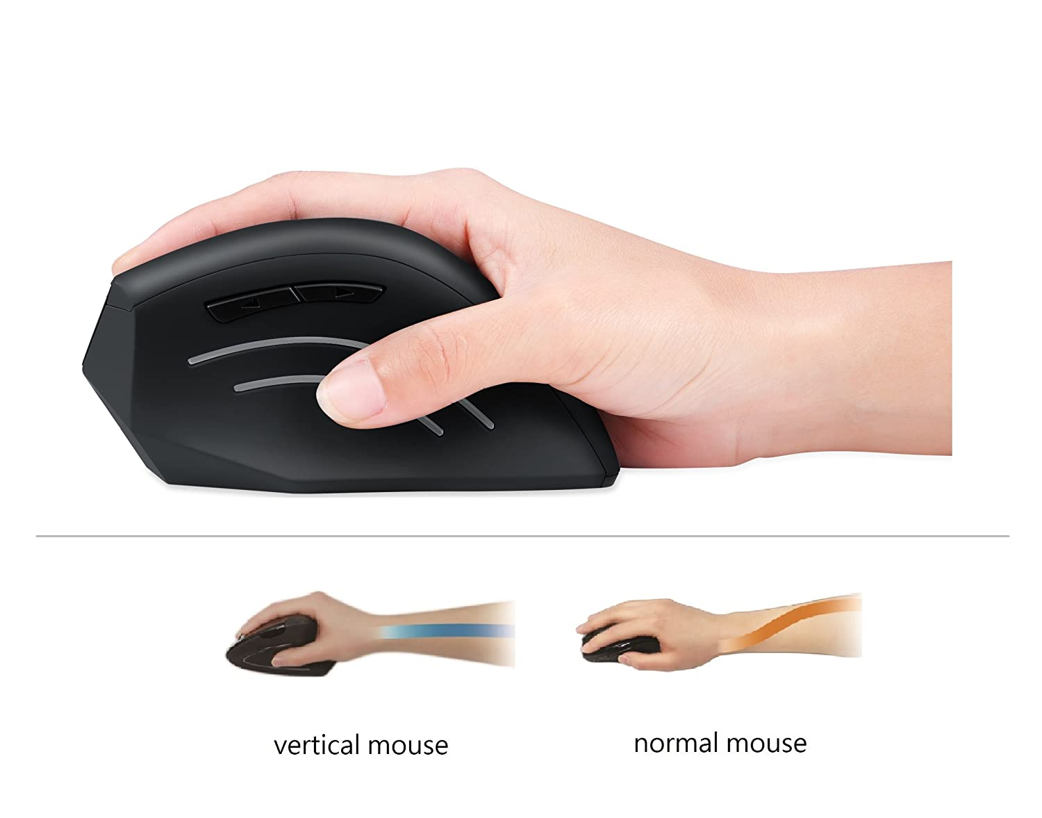 5 Programmable Button Natural Ergonomic Vertical Right handed Design Wired Programmable Vertical Ergonomic Mouse 1000//1600 dpi Perixx PERIMICE-508