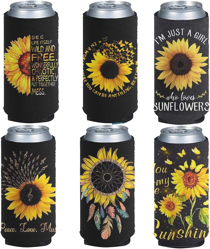 BIGCARJOB 6 Pack Slim Can Sleeve Soft Neoprene Insulator Can Cooler 12oz Skinny Beer Coolies Cover Thick Tall Beverage Holder Bag for Energy Drink & Beer Cans, Sunflower with Positive Words