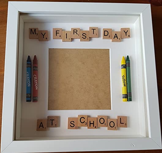 Personalised My First Day At School Photo Box Frame Scrabble Letters