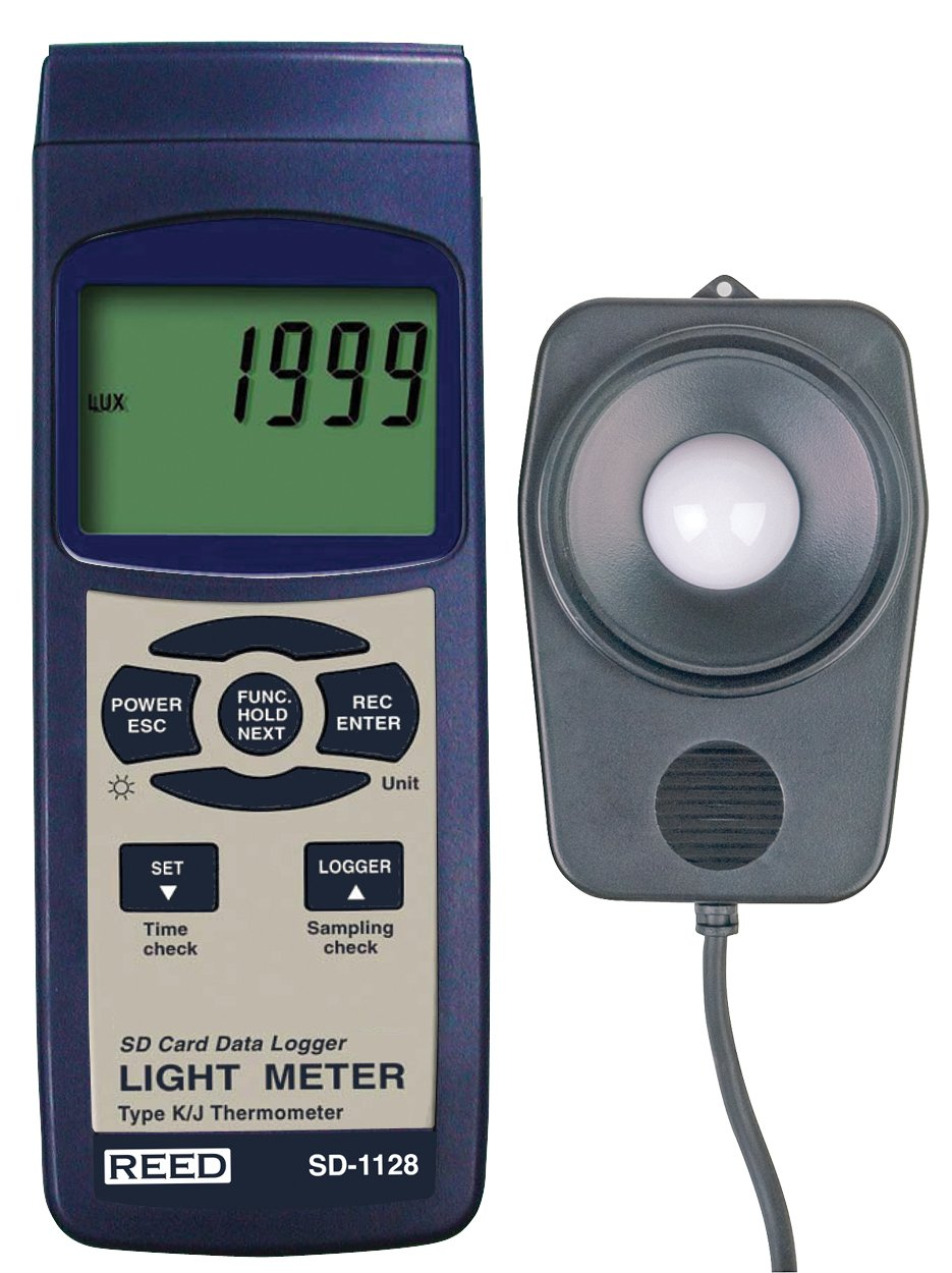 REED Instruments SD-1128 SD Series Light Meter, Datalogger, 100,000 Lux/10,000 Foot Candles (Fc), w/Temperature
