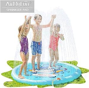 AirMyFun Shark Sprinkle & Splash Play Mat, Fun Backyard Fountain Play Mat for Kids, Splash Sprinkler Pad Suitable for Holding Summer Park, Shark Sea World Theme