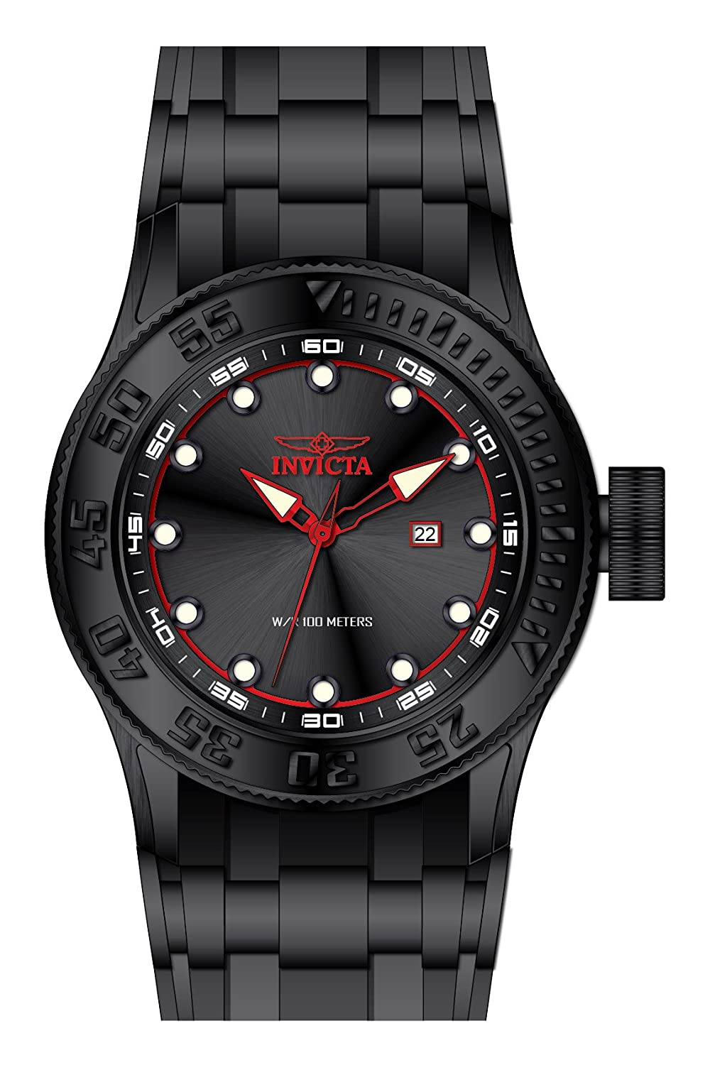 Amazon.com: Invicta Mens Pro Diver Stainless Steel Quartz Watch with Silicone Strap, Black, 26 (Model: 22248: Watches
