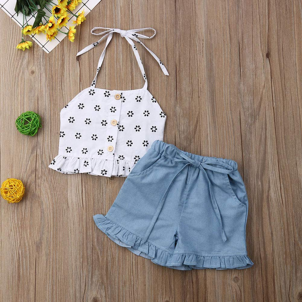 Toddler Baby Girl Floral Halter Outfits Button Strap Crop Top+Short Pant Set Summer Clothes