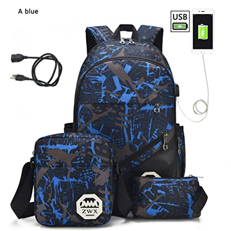 ef25dace48e2 Amazon.com: Kalakk For Boys One Shoulder Big Student 3Pcs USB Male ...
