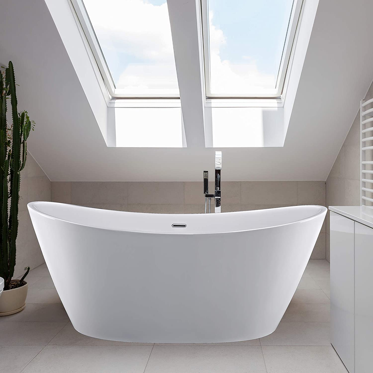 Empava Made in USA 67 Inch Luxury Freestanding Bathtub Acrylic Soaking SPA Tub Contemporary Design with Brushed Nickel Overflow and Drain 60 Gallon, SRT1, White