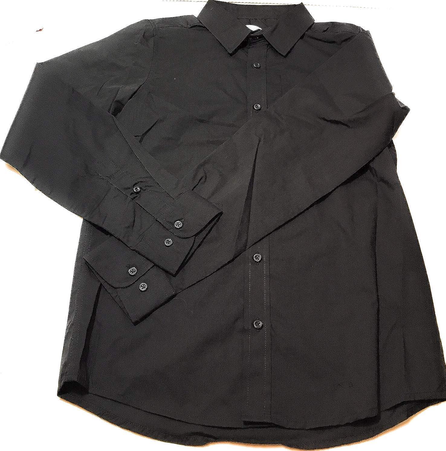 Boys Long Sleeve Black Dress Shirt for School Uniform or Party Size 14-16 Large