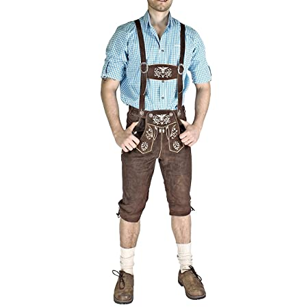 German Men 's Costume Lederhose with Straps in Various Colours Size UK 30 to 44 B00RLO9C7K