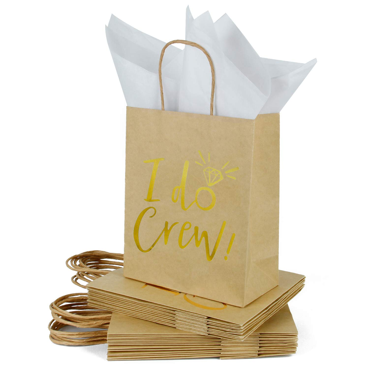 Loveinside Medium Kraft Gift Bags-I Do Crew Gold Foil Brown Paper Gift Bag with Tissue Paper - Wedding,Party Favor,Bridesmaids Gift-12Pack -8'' X 4'' X 10''