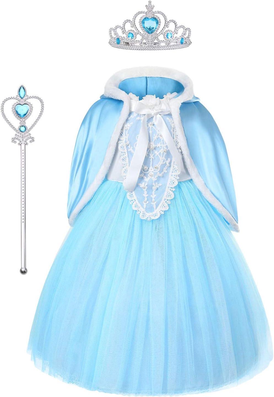 URAQT Princesa Disfraces para Niños, Princesa Disfraz Traje Parte Las Niñas Vestido, Disfraz Infantil para Navidad, Girls Princess Fancy Dress, Azul, 110cm