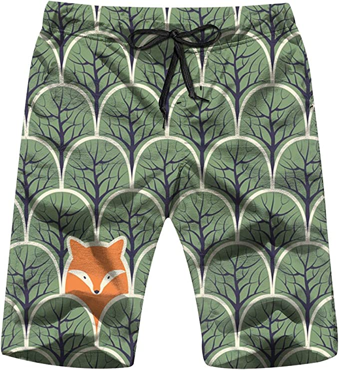 Mens Swim Trunks Forests Plants Season Quick Dry Beach Board Shorts with Mesh Lining
