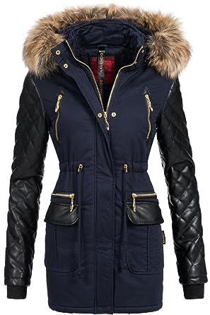 Wintermantel »44276A«%2c stylischer Winterparka m. Kunstfellkapuze%2c schwarz%2c schwarz Sublevel 0Zb8aJg