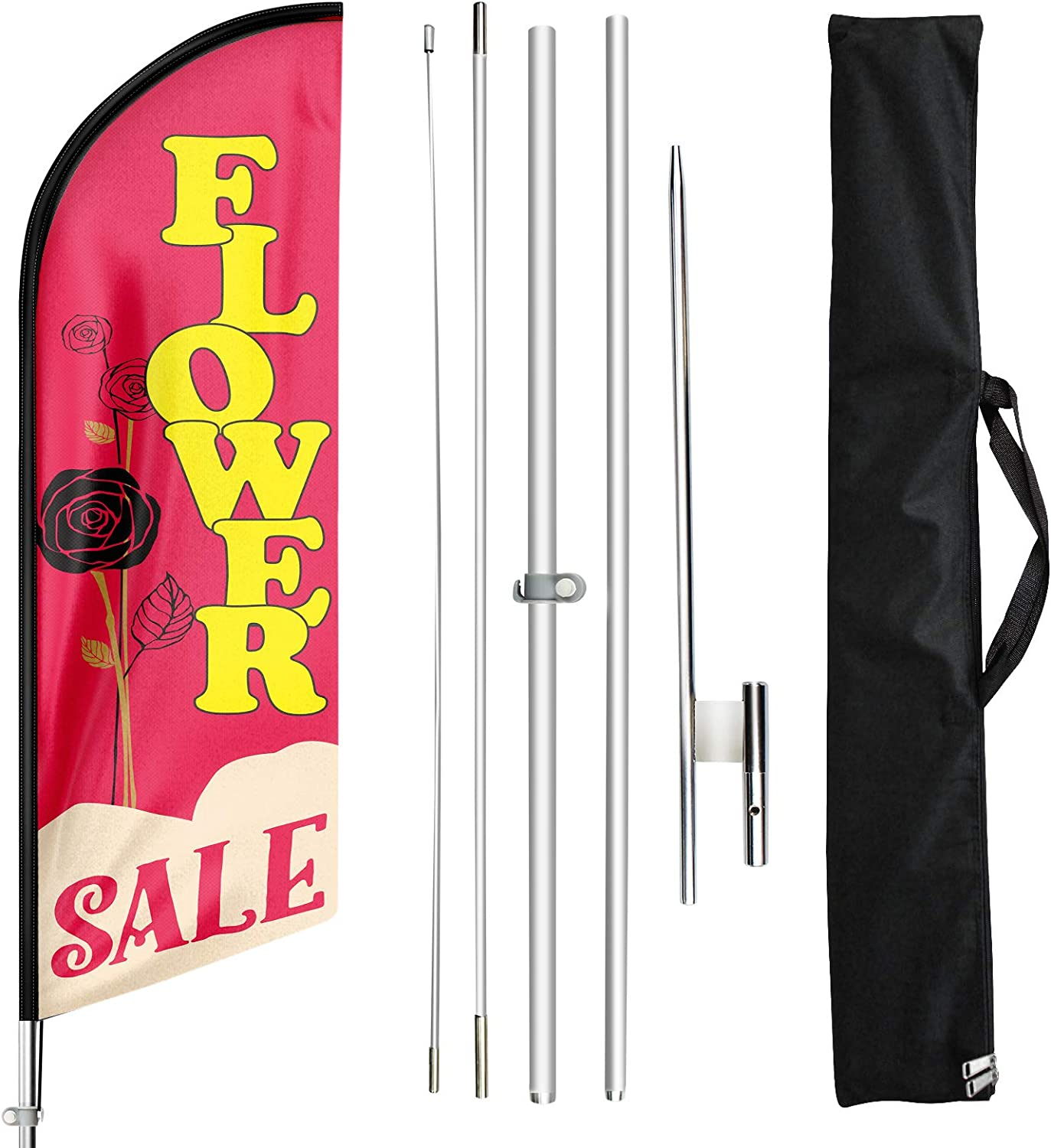 Windless Full Sleeve Swooper Flag w// Pole /& Spike WALK IN DRIVE OUT Red Yellow White
