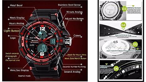 QBD - Reloj analógico y digital para chicos y chicas, tamaño grande, con cronógrafo, cronómetro y alarma, resistencia al agua 50 m, en caja de regalo, ...