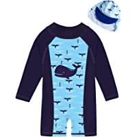ADUKIDE Baby/Toddler Girls One-Piece Long Sleeve Zipper Swimsuit Infant Beach Bathing Suit with Sun Hat 3-24 Months