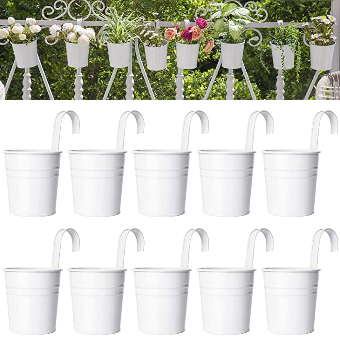 Dahey 8 Pcs Hanging Flower Pots Metal Iron Bucket Planter for Railing Fence Balcony Garden Home Decoration Flower Holders with Detachable Hook,White