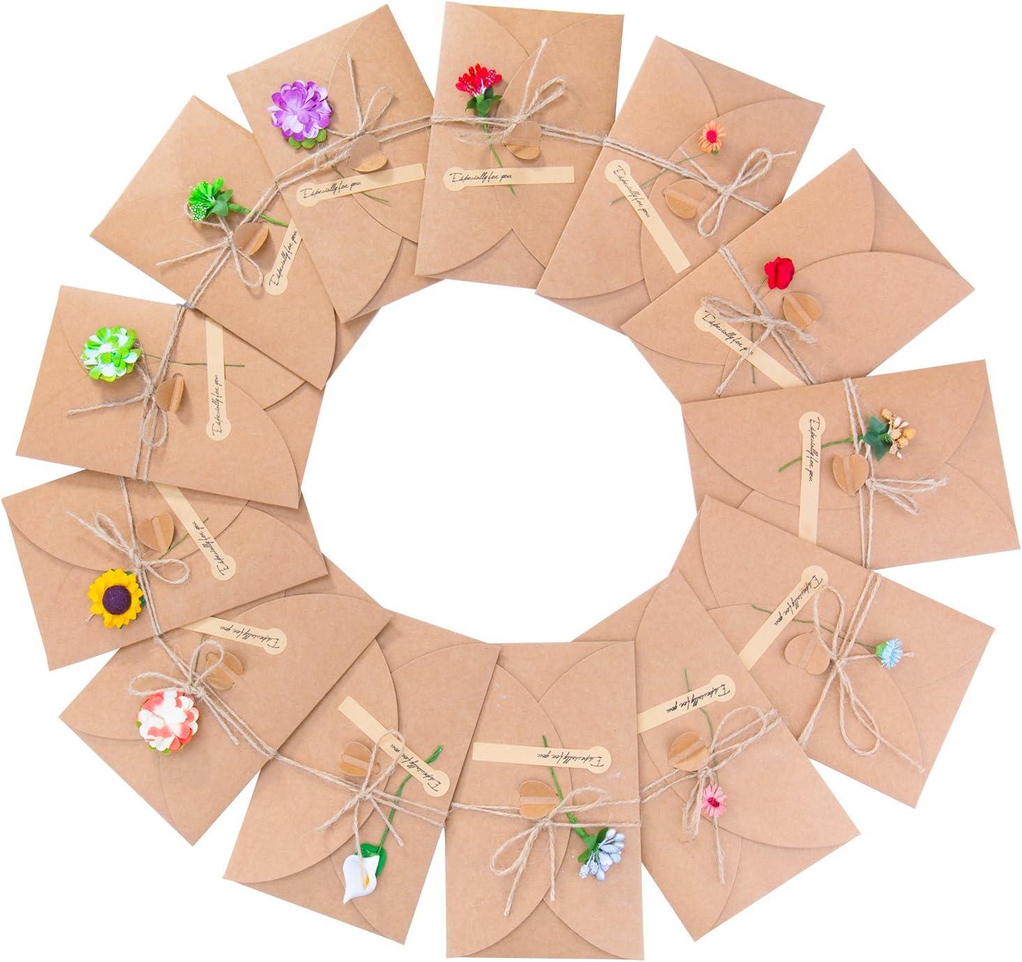 Tarjeta de Felicitación, Meersee 13pcs Tarjeta de Felicitación Papel Kraft con Sobres, Flores Secas, Tarjeta de Felicitación Pegatinas para Navidad Boda Regalo Cumpleaños Fiesta Año Nuevo