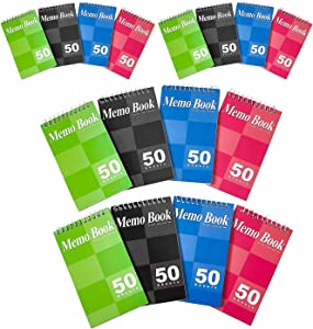 Kicko Spiral Notepads 3 x 5 Inches - Small Spiral Memo Pads - Top Bounded Memo Books - 16 Pack - Mini Pocket Memo Pads - for Kids, School Supplies, Office Desk