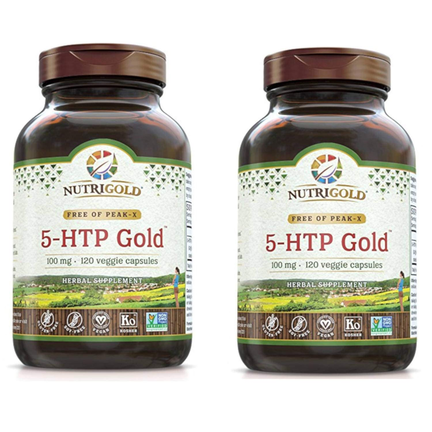 Nutrigold 5-HTP Gold is Guaranteed Free of Peak-X and Used for Positive Mood, Appetite Management and Relaxation 100 milligrams (120 Veggie Capsules) Pack of 2