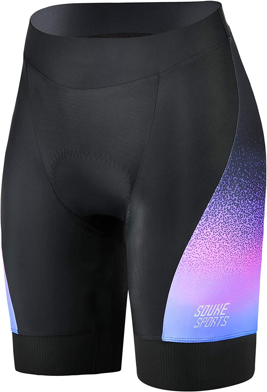 Eco-daily Womens Padded Bike Shorts with Pocket, Women Cycling Shorts Wide Waistband Biking Bicycle Pants