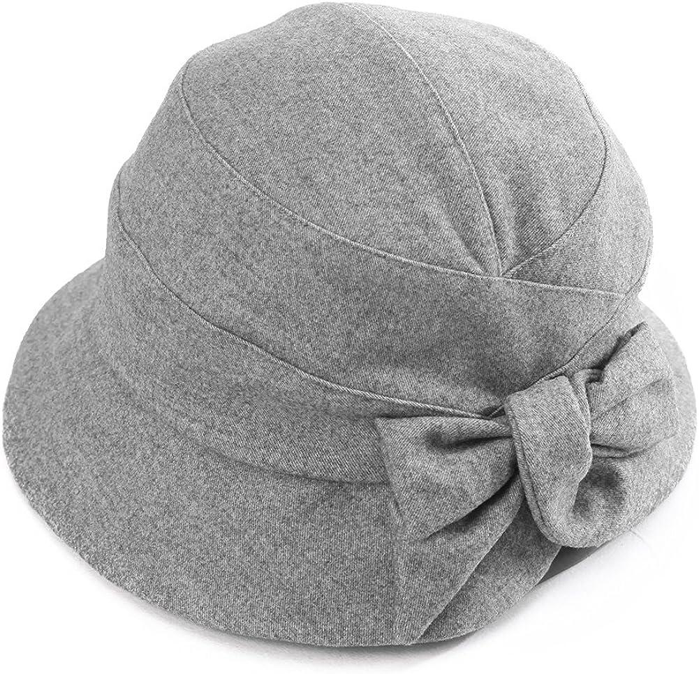 Comhats Winter Damen Glokenhut Wolle warme Bucket Cloche Hut mit Schleife Blau