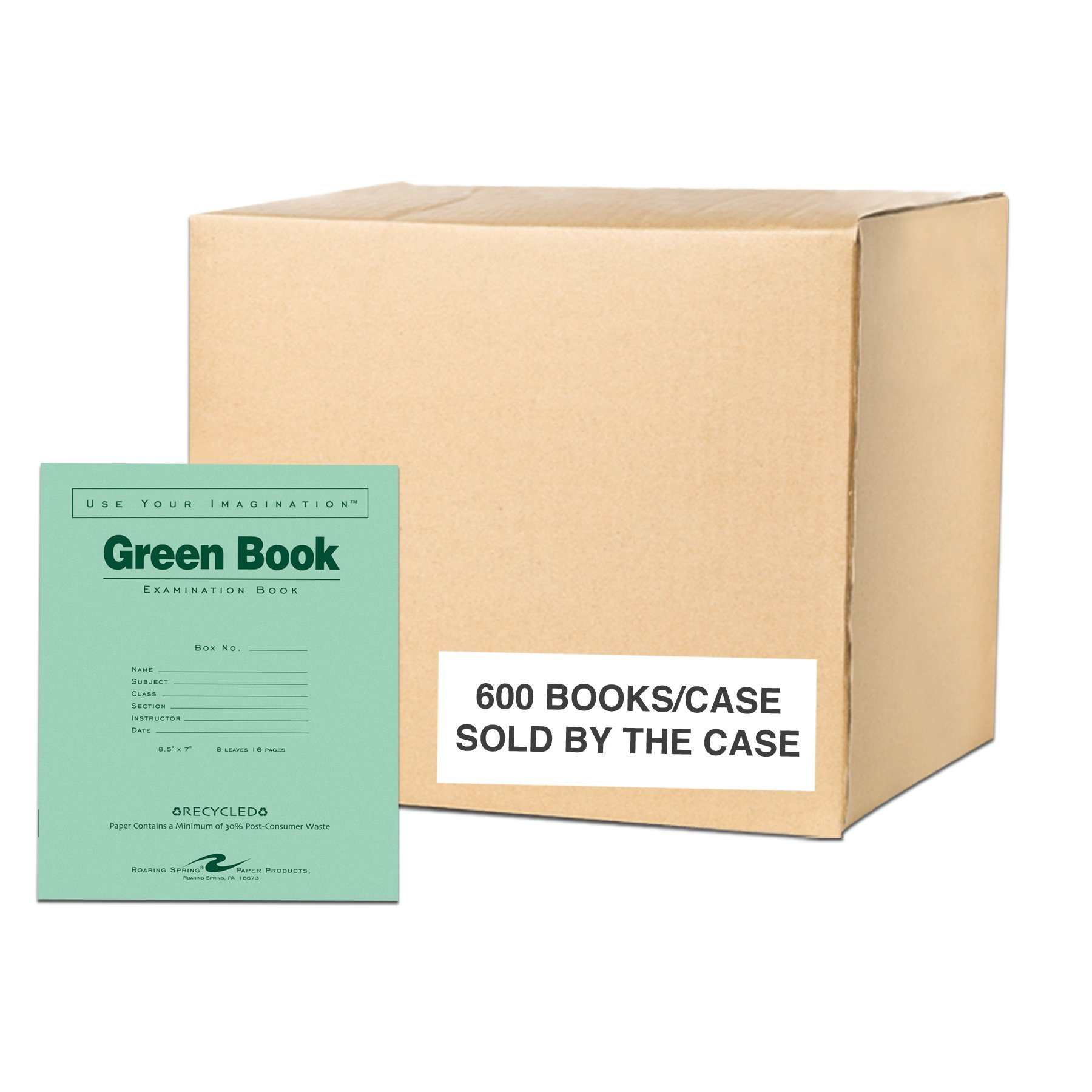 Case of 600 Exam Books, 8.5''x7'', 8 sheets/16 pages of 15# Recycled White Paper, Heavy Recycled Green Cover, Stapled by Roaring Spring Paper Products