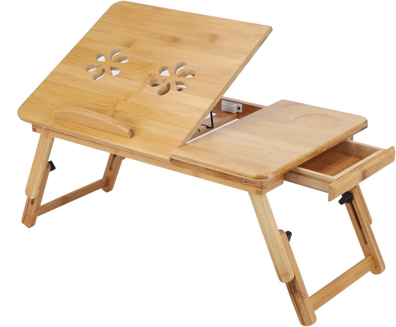 Yorking Bambus Laptoptisch Notebooktisch Knietisch Beistelltisch Tablett Betttablett Mit Amazon De