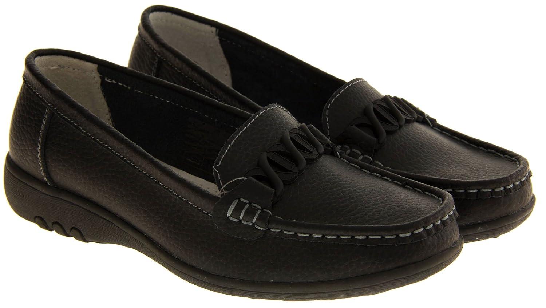 Mocasines para mujer Cassie, de piel, amortiguan al andar, con borla, sin cordones, más anchos, color Negro, talla 42