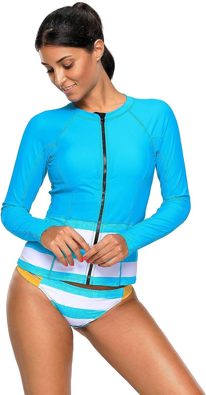 Womens Long Sleeve Rash Guard Surf Sports Rash Vest Tankini Top UV Protection Swimwear Swimsuit