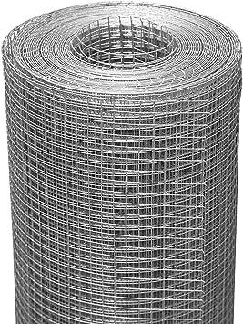 Seboss 48inx50ft 1/4inch Hardware Cloth 23 Gauge, Galvanized After Welding, Chicken Wire Fence Gopher Barrier Wire Mesh Roll Garden Fence Wire Cloth Tree Guard Welded Wire Fencing
