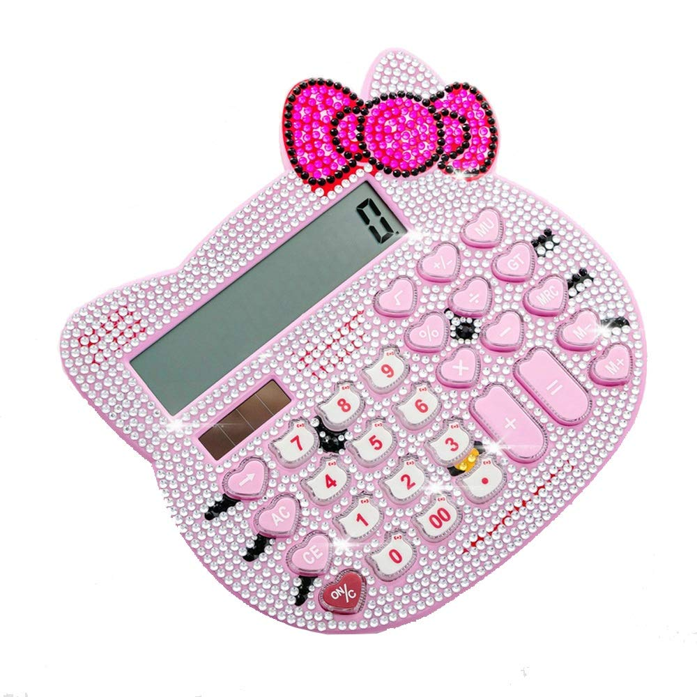 Zhangcaiyun Calculadoras Cute Plus Rhinestone Rhinestone Rhinestone Cartoon Cat Head Solar Calculadora Ambiental Oficina (Color : Rosado) d695c0
