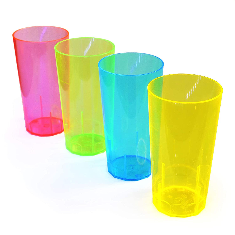 20 NEON Longdrink Cups 250 ml - Reusable plastic UV drinking glasses - Blacklight longdrink glasses Eventlights