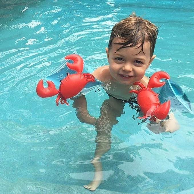 Isuper Manguitos hinchables,Manguitos de niños Flotadores de Mangas para bebé Aprender a Nadar con Dibujo Animado Deal para Niños de 2 a 5 Años (Cangrejo): ...