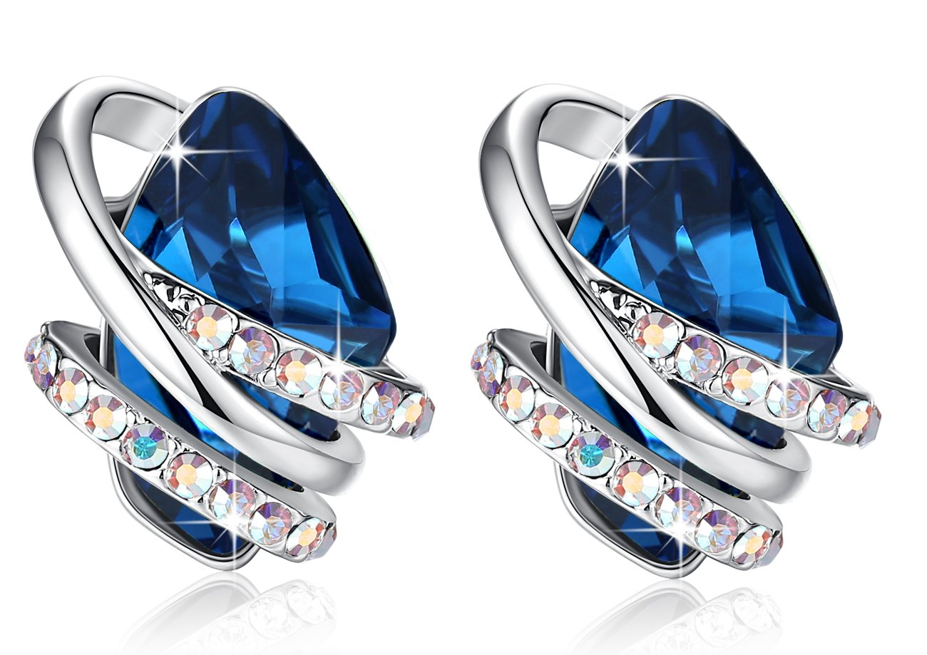 [Presented by Miss New York] Leafael''Wish Stone'' Made with Swarovski Crystals Focal Shape Silver-tone Sapphire Blue Earrings, Nickel/Lead/Allergy Free, Luxury Gift Box by Leafael