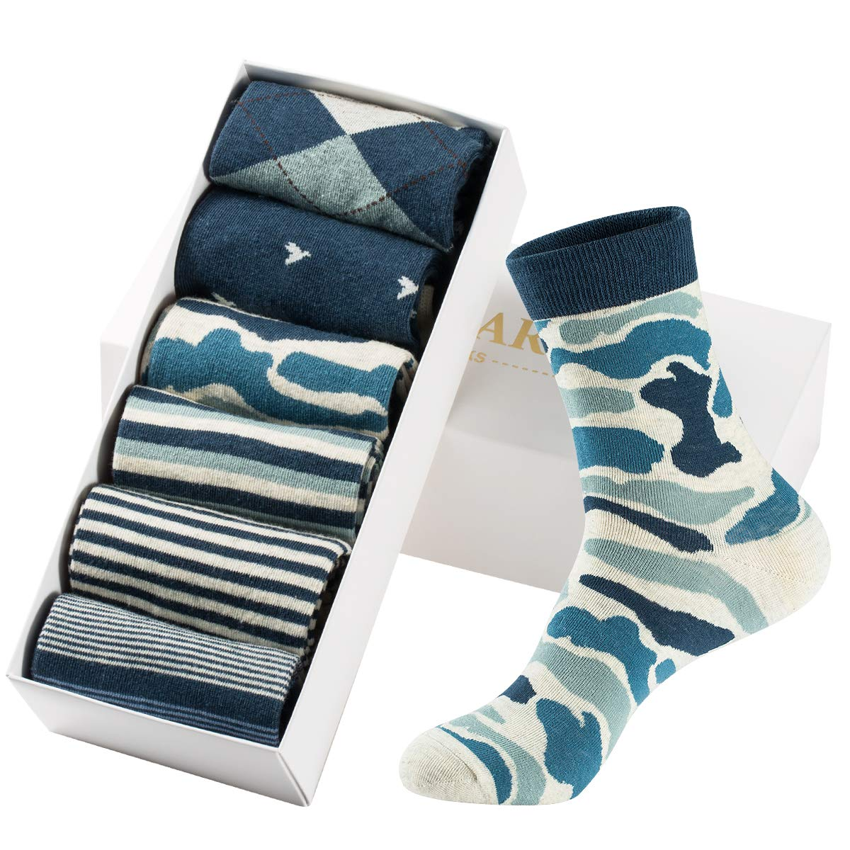 Mens Dress Socks High Ankle Cotton Casual Patterned Socks 6 Pairs