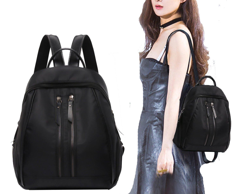 female bag shoulder bag double zipper backpack shoulder bag,Black