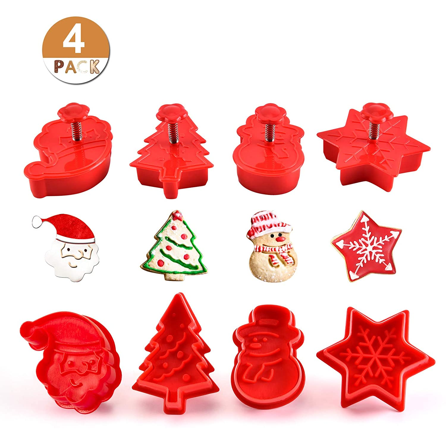 GWHOLE 4 Pack of Winter Pastry Cookie Fondant Stampers for Kids Holiday Birthday Party