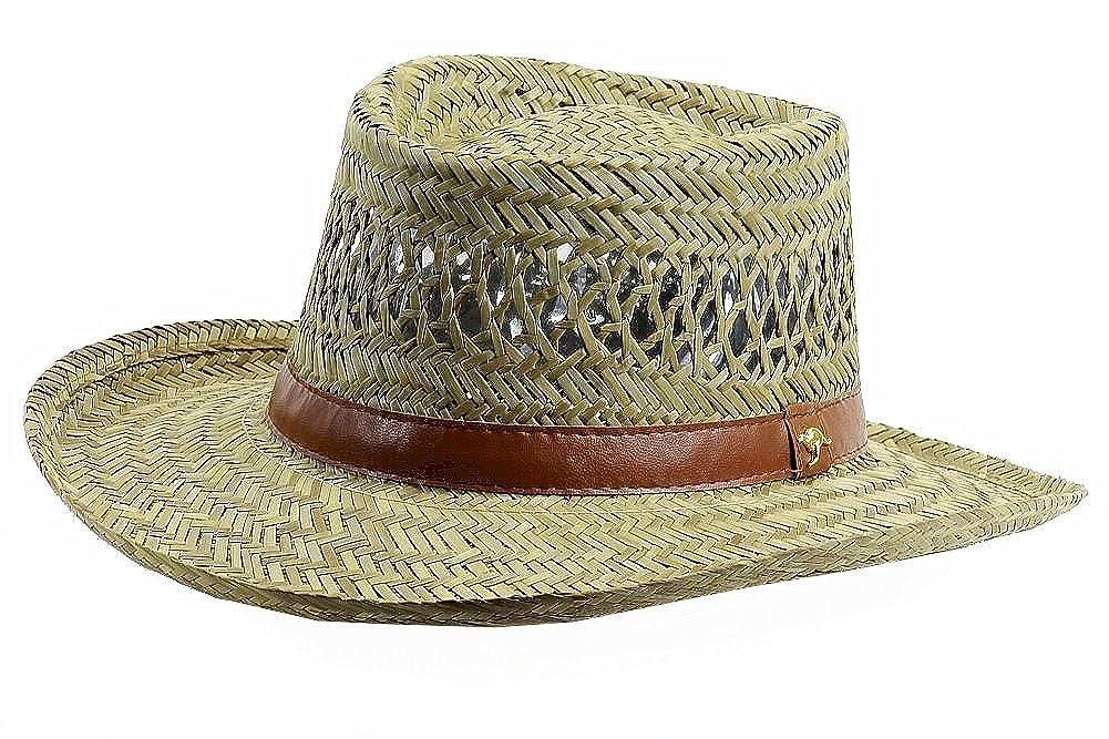 Dorfman Pacific Mens Rush Straw Lightweight Casual Wide Brim Gambler Hat, Straw