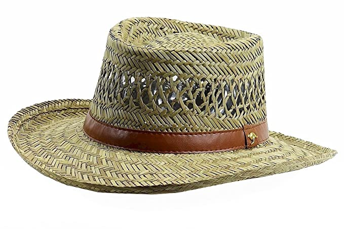 3cf8ceef2285a Dorfman Pacific Mens Rush Straw Lightweight Casual Wide Brim Gambler ...