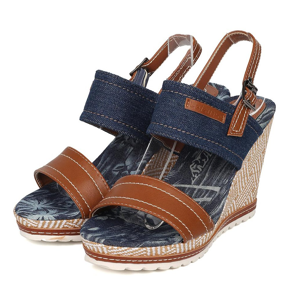Nature Breeze Women's Denim High Platform Summer Wedge Sandals B06XSZ1576 7 M US Blue-01