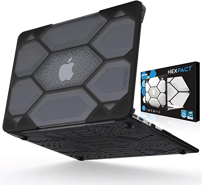 IBENZER Hexpact MacBook Air 11 Inch Case A1370 A1465, Heavy Duty Protective Hard Shell Case Cover for Apple Laptop Mac Air 11, Black, HA11CYBK