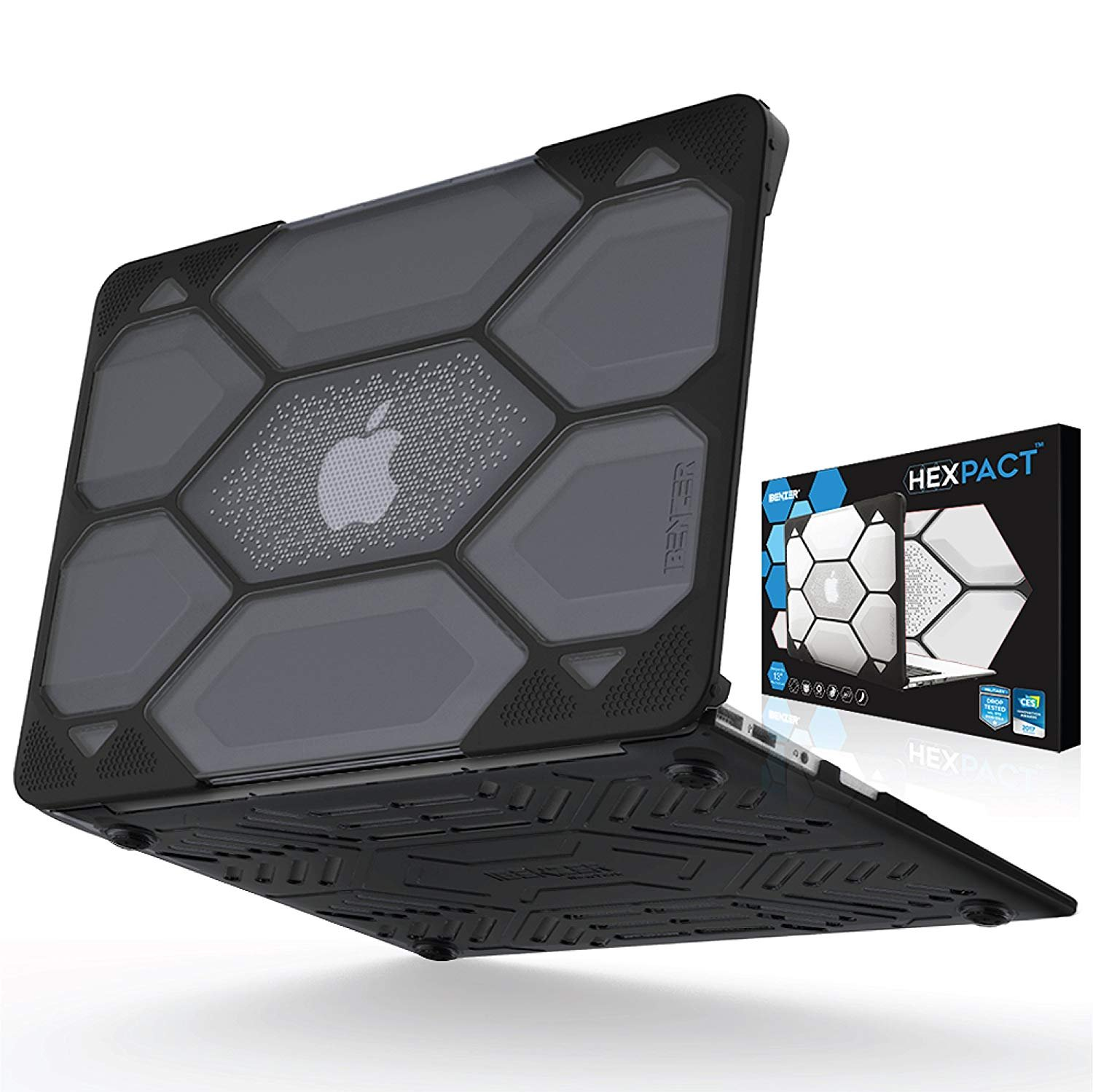 IBENZER Hexpact Heavy Duty Protective Case for MacBook Air 13 Inch A1369/A1466, Black, LC-HPE-A13CYBK