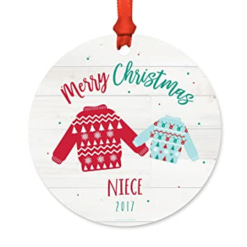 Merry Christmas Niece.Andaz Press Family Metal Christmas Ornament Merry Christmas Niece 2019 Fair Isle Holiday Ugly