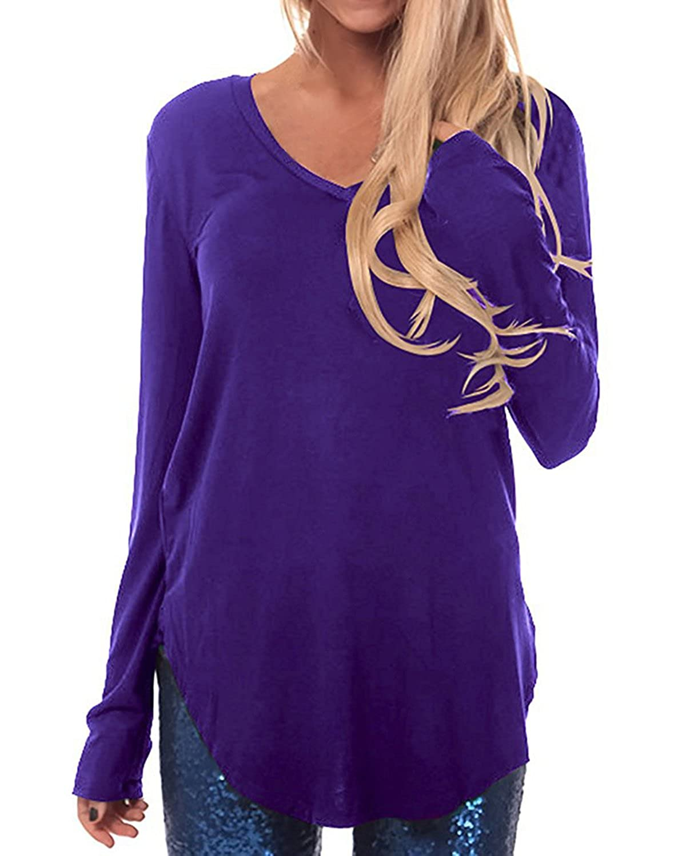 CNFIO Langarmshirt Tunika Damen Pullover Rundhals Sweatshirt V-Ausschnitt A-line Swing Casual Tops Einfarbig