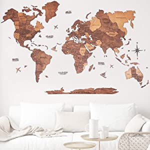 3D Push Pin Wood World Map Wall Art. Oak Large Wall Decor - World Travel Map ALL Sizes (M, L, XL). Any Occasion Gift Idea - Wall Art For Home & Kitchen or Office