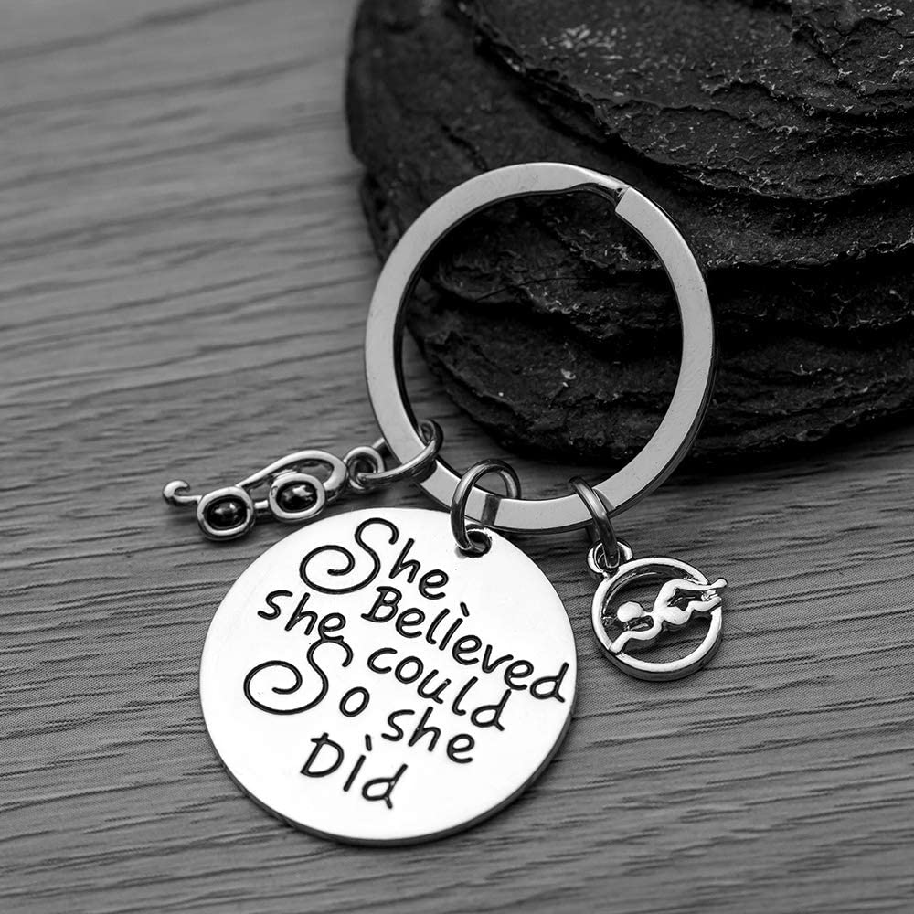 Womens Swim Keychain Swimmer Jewelry for Swimmers /& Swim Teams She Believed She Could So She Did Swimming Jewelry