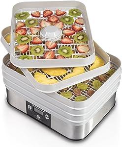 Hamilton Beach 32100A Digital Food Dehydrator, 5 Tray, Gray (Renewed)