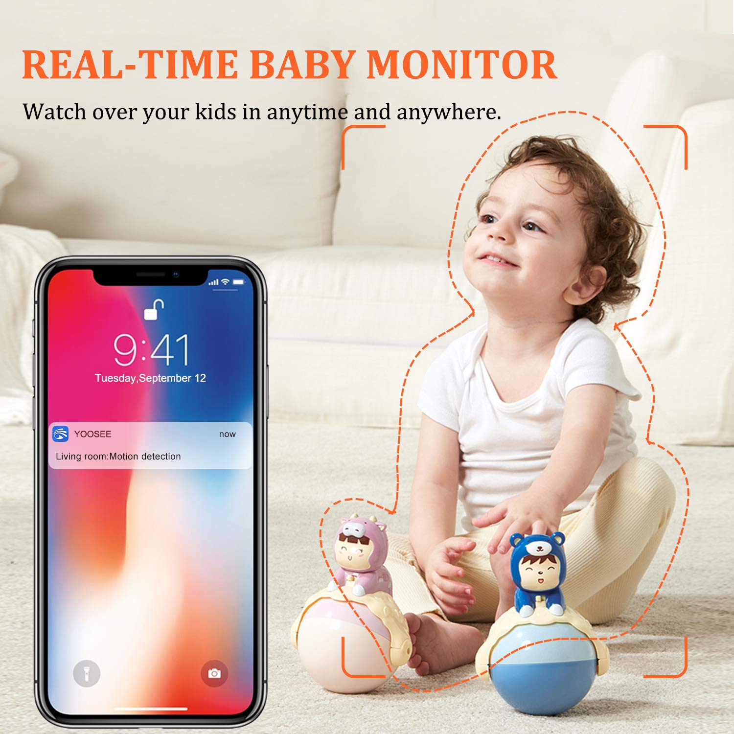FullHD 1080p WiFi Camera, MSAFF Wireless Pan/Tilt/Zoom Home Security Camera for Baby Pet, IP Monitor Indoor Surveillance System with 32GB MicroSD Card, Night Version & 2-Way Audio, Android, iOS App