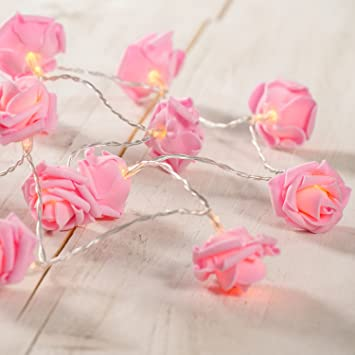 20 LED Battery Operated Pink Rose Flower Fairy Lights by Lights4fun