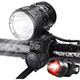 AUOPRO Super Bright Bicycle Light Set - USB Rechargeable Bike Headlight Cree Front Lamp and LED Red Taillight for Cycling Safety